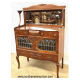 BEAUTIFUL ANTIQUE Quartersawn Oak Leaded Glass Mirror Back Buffet  Auction Estimate $300-$600 – Loc