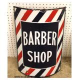 ANTIQUE Porcelain Over Steel Barber Shop Sign  Auction Estimate $200-$400 – Located Inside