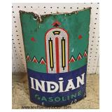 "ANTIQUE ""Indian Gasoline"" Sign  Auction Estimate $200-$400 – Located Inside"