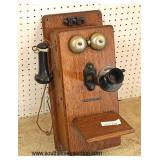 "ANTIQUE ""Stromberg-Carlson Telephone Manufacturing Co."" Oak Crank Wall Phone  Auction Estimate $100"