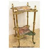 ANTIQUE Onyx and Brass 2 Tier Plant Stand  Auction Estimate $100-$200 – Located Inside
