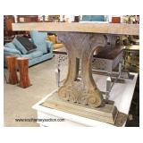 Antique Style White Wash Farm Dining Room Table with Fancy Legs  Auction Estimate $200-$400 – Locat