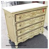 Shabby Chic Country French Style Carved 4 Drawer Chest  Auction Estimate $200-$400 – Located Inside