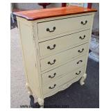 Natural Finish Top 5 Drawer Decorator High Chest  Auction Estimate $200-$400 – Located Inside
