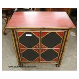 Rattan Style Paint Decorated 2 Door Server  Auction Estimate $100-$300 – Located Inside