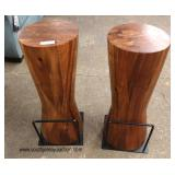 PAIR of Mid Century Style Acaria Wood Bar Stools with Industrial Metal Foot Rest  Auction Estimate