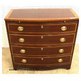 "BEAUTIFUL ""Baker Furniture"" Burl Mahogany and Banded 4 Drawer Bow Front Bachelor Chest with Pull Ou"