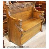 ANTIQUE Quartersawn Oak Carved with Wing Griffin Arms Lift Top Hall Bench  Auction Estimate $400-$8