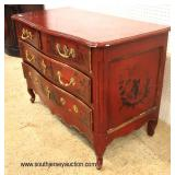 ANTIQUE 18TH Century Red Lacquer Asian Decorated 2 over 2 Drawer Chest  Auction Estimate $1000-$200