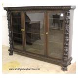 """SOLID Oak """"R.J. Horner"""" Figural Carved with Paw Feet 3 Door Bookcase with Original Finish  Auction"""