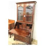 "SOLID Mahogany ""Henkel Harris Furniture"" Virginia Galleries 2 Piece Secretary Bookcase with Hidden"