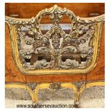 PAIR of BEAUTIFUL Burl Walnut Inlaid Pierce Carved French Style High Back Twin Beds  Auction Estima