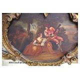 ANTIQUE French Mirror with Oil Painting  Auction Estimate $200-$400 – Located Inside