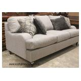 NEW Grey Upholstered Contemporary Sofa with Decorative Pillows  Auction Estimate $300-$600 – Locate