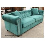 NEW Contemporary Decorator Button Tufted Upholstered Sofa with Decorative Pillows  Auction Estimate