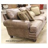 NEW Brown Suede Style Sofa with Decorative Pillows  Auction Estimate $300-$600 – Located Inside