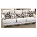 NEW Upholstered Contemporary Sofa with Decorator Pillows  Auction Estimate $300-$600 – Located Insi
