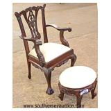 Mahogany Carved Childs Ball and Claw Arm Chair and Stool  Auction Estimate $50-$100 – Located Insid
