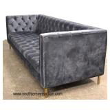 NEW Grey Upholstered Contemporary Even Arm Button Tufted Decorator Sofa  Auction Estimate $300-$600