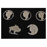 Selection of Silver Charms made from Silver Coins  Auction Estimate $20-$50 – Located Glassware