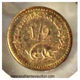 1852 California ½ Gold Coin  Auction Estimate $100-$300 – Located Glassware