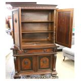 ANTIQUE Walnut 4 Door 1 Drawer Carved Bunn Feet with Scrolling Carving Blind Door China Cabinet  Au