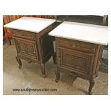PAIR of Marble Top 1 Drawer 1 Door Country French Style Panel Sides Night Stands  Auction Estimate