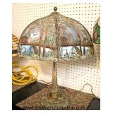 """Selection of ANTIQUE Leaded Glass,  Panel and Other Lamps some signed including """"Miller""""  Auction E"""