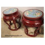 PAIR of SOLID Hardwood Asian Plant Stands  Auction Estimate $100-$300 – Located Inside
