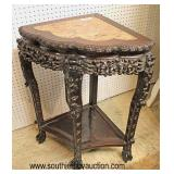 ANTIQUE Highly Carved Hardwood Asian Marble Top Corner Stand  Auction Estimate $200-$400 – Located I