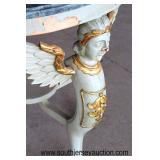 Hand Carved Victorian Style Paint Decorated Marble Top Table  Auction Estimate $50-$100 – Located In