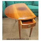 Antique Style Burl Mahogany and Banded Oversized Drop Side Pembroke Table with 2 Drawers  Auction Es