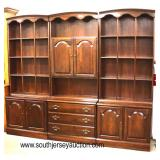 """NICE SOLID Cherry """"Ethan Allen Furniture"""" 3 Sectional Wall Unit Bookcase  Auction Estimate $200-400"""