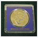1963 Silver Franklin Half Dollar MS63/65 Certified  Auction Estimate $10-$25 – Located Glassware
