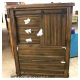 NEW Decorator Chest with Sliding Barn Doors Front  Auction Estimate $200-$400 – Located Inside
