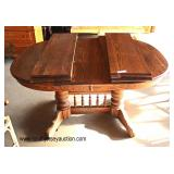 """7 Piece """"Richardson Brothers Furniture"""" Oak Dining Room Table with 4 Leave and 6 Chairs  Auction Est"""