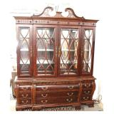 8 Piece Mahogany Finish Traditional Style Dining Room Set with 2 Piece China Cabinet -Table has 2 Le