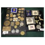 Selection of Military Pins, Bronze Commemorative and other  Auction Estimate $100-$400 – Located Gla