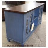 "NEW ""Martin Furniture"" Contemporary Decorator 1 Drawer 2 Door Blue Natural Finish Top Media Cabinet"
