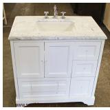 """NEW 36"""" Marble Top 2 Door 4 Drawer Bathroom Vanity with Faucet and Hardware  Auction Estimate $200-$"""