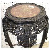 ANTIQUE Highly Carved Hardwood Asian Marble Top Corner Stand and Plant Stand  Auction Estimate $200-