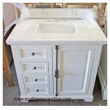 """NEW 36"""" Marble Top 4 Drawer 1 Door Restoration Hardware Handle Bathroom Vanity with Back Splash  Auc"""