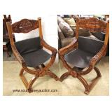 """PAIR of SOLID Hardwood """"X"""" Frame Carved Last Supper Chairs  Auction Estimate $200-$400 – Located Ins"""