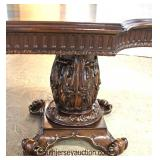 11 Piece Mahogany Banded and Inlaid Carved Double Pedestal Dining Room Table with 10 Dining Room Cha