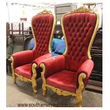 PAIR of Red Upholstered Button Tufted Gold Painted Carved Frame Throne Chairs  Auction Estimate $400