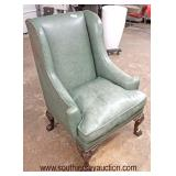 """Leather """"Henredon Leather Company"""" High Back Chippendale Style Chair  Auction Estimate $200-$400 – L"""