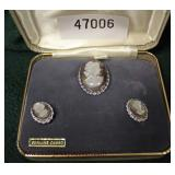 VINTAGE 3 Piece Set Genuine Cameo Brooch and Earrings  Auction Estimate $25-$50 – Located Glassware