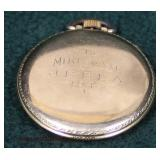"""10 Karat """"Bulova"""" Yellow Gold Filled Pocket Watch with Case  Auction Estimate $20-$50 – Located Glas"""