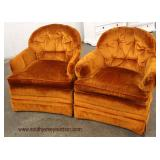 PAIR of Mid Century Button Tufted Lounge Chairs in the Hot Color Orange  Auction Estimate $200-$400