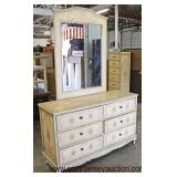 Paint Decorated 6 Drawer Low Chest with Mirror  Auction Estimate $200-$400 – Located Inside